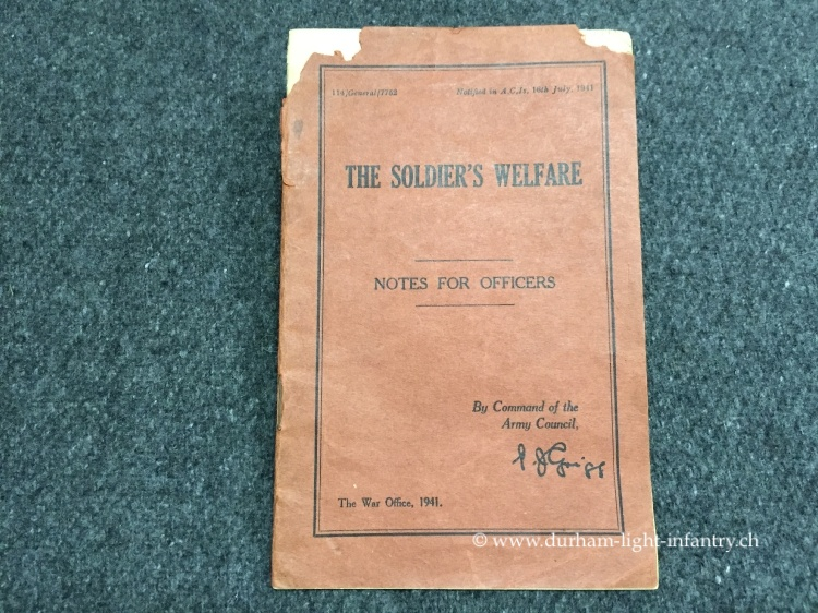 The Soldier's welfare - Notes for Officers