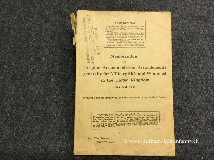 Memorandum on Hospital Accommodation Arrangements generally for Militiary Sick and Wounded in the United Kindom